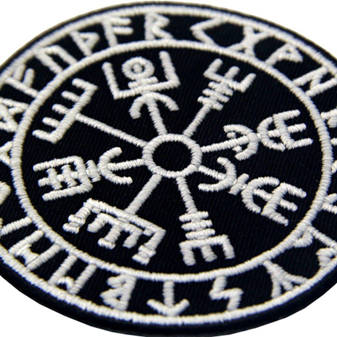 Vegvisir Viking Brújula Norse Rune Morale Táctica Resplandor en el parche oscuro Bordado de Aplicación con Plancha: Amazon.es: Hogar