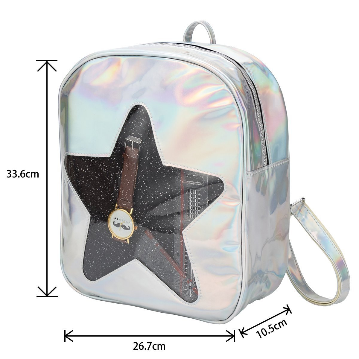 Girls Kawaii Bling Transparent Love Star School Bag Backpack (Star-Silver) by XSCOMSPORT (Image #2)