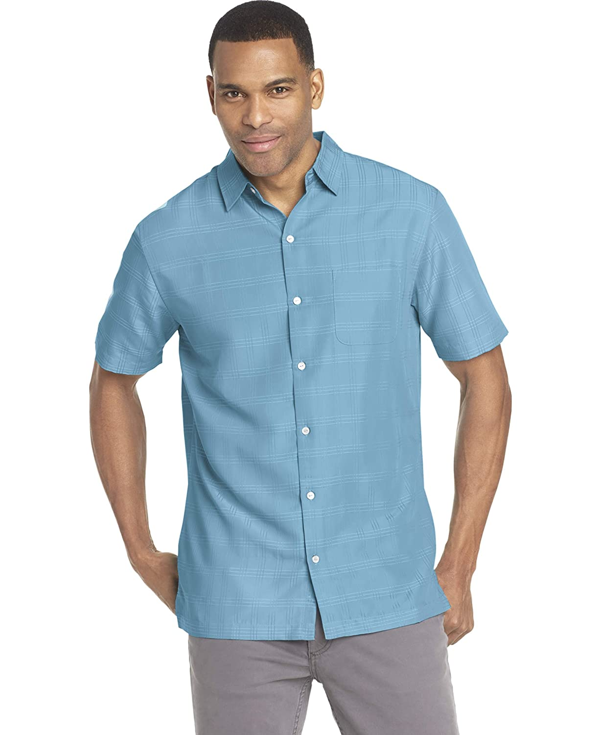 Van Heusen Mens Air Tropical Short Sleeve Button Down Poly Rayon Shirt
