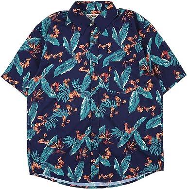 NAGRI Camisa hawaiana de manga corta con estampado floral, playera, fiesta, flor, para hombre - Azul - Large: Amazon.es: Ropa y accesorios