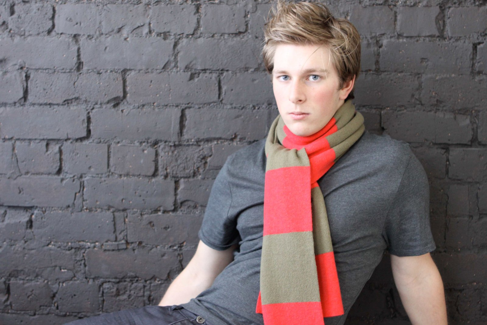 Mens Striped 100% Cashmere Scarf - Light Natural / Light Gray - handmade in Scotland by Love Cashmere by Love Cashmere (Image #3)