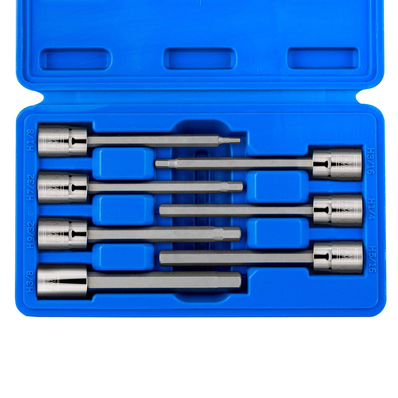 Neiko 10072A 3/8' Drive Extra Long Hex Bit Socket Set (7 Piece), 3 mm - 10 mm, Clear Ridgerock Tools Inc.