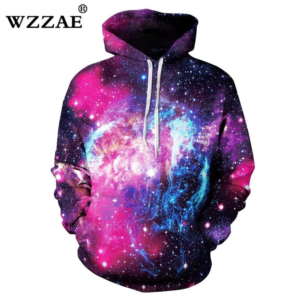 Shipping 25 Days WZZAE 2018 Space Galaxy Hoodies Men//Women