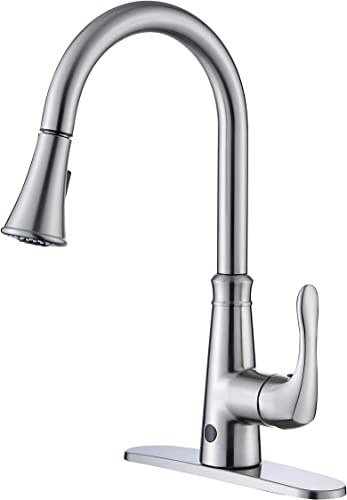 Touchless Kitchen Faucet with Pull Down Spray Head, Two Sensors Single Handle High Arc 2-Function Kitchen Sink Faucets With Pull Out Sprayer, 1 4 Hole Deck Mount, Brushed Nickel PVD,KNACK