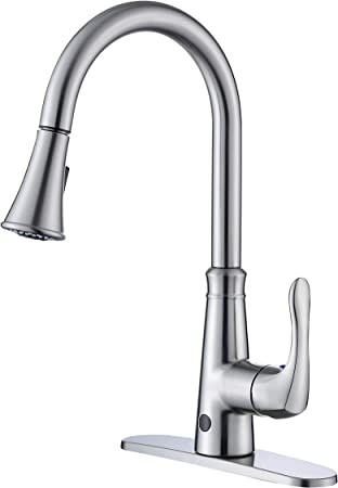 Poiqihy Touch On Kitchen sink Faucet Pull Down Sprayer Brushed Nickel Mixer Tap