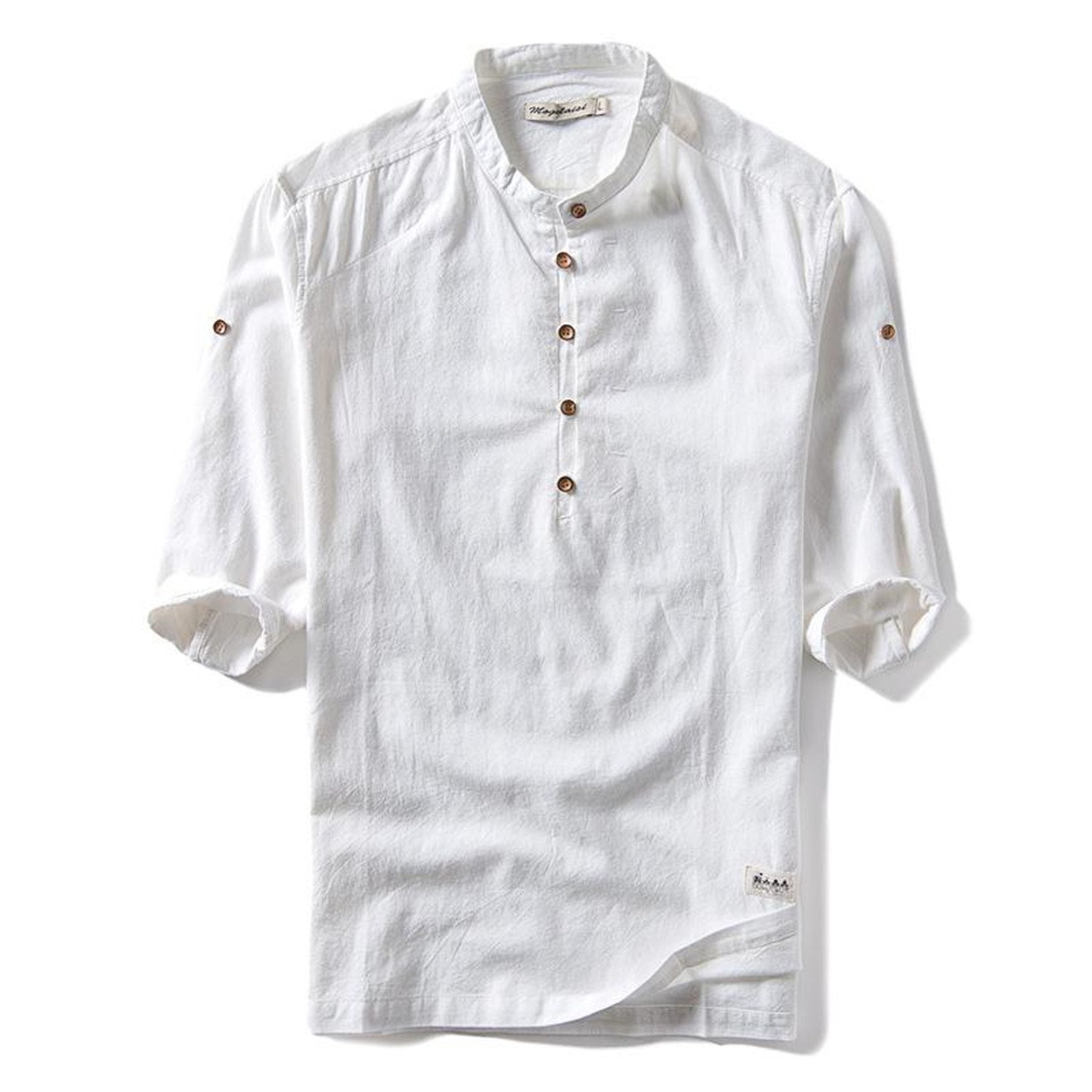 Sonjer 2018 New Trend Fashion Summer Solid Color Shirt Men Stand