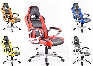 POLIRONESHOP MONZA Silla de oficina giratoria sillón estudio gaming racing: Amazon.es: Hogar