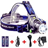 RedSun Focusable Led Headlamp, T6 LED Rechargeable Headlight, 3 Modes Headlight Flashlight Torch For Hunting Fishing Outdoor Sports Camping Biking(Bettery Included)