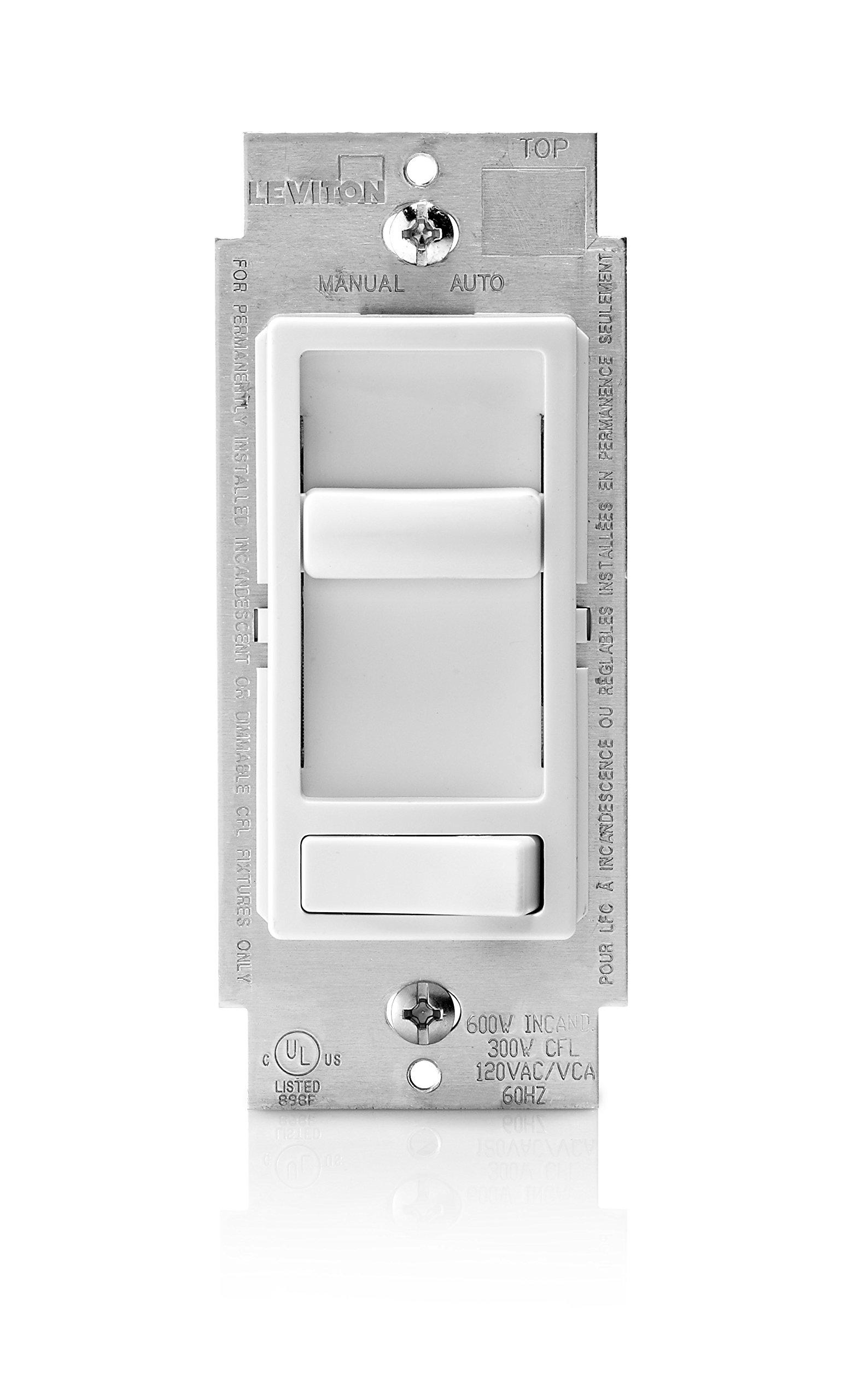 Leviton 6674-P0W SureSlide Universal 150-Watt LED and CFL/600-Watt Incandescent Dimmer, White by Leviton