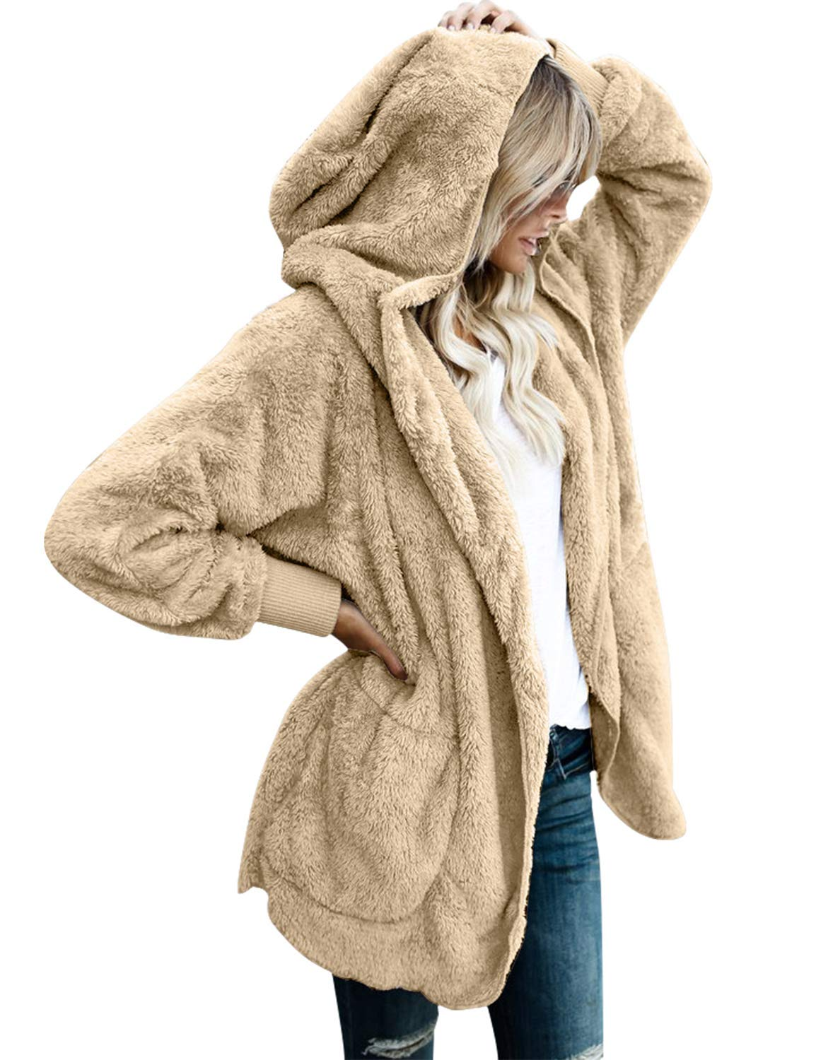 Vetinee Women's Faux Fur Coat Hooded Cardigan Fuzzy Fleece Long Jacket Outerwear Apricot Size M