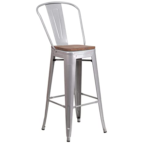 Pleasing Taylor Logan 30 Inch High Metal Barstool With Back And Wood Seat Silver Machost Co Dining Chair Design Ideas Machostcouk