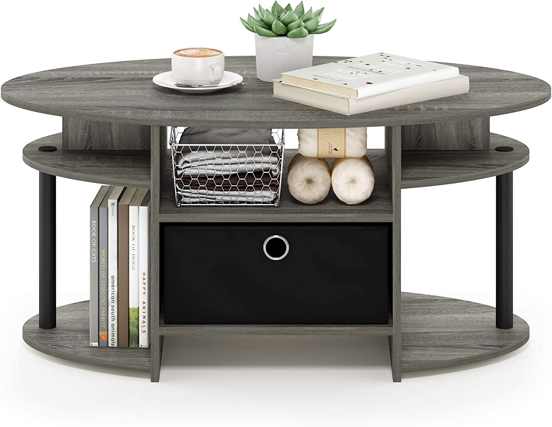 FURINNO Jaya Simple Design Oval Coffee Table, French Oak Grey/Black/Black: Kitchen & Dining