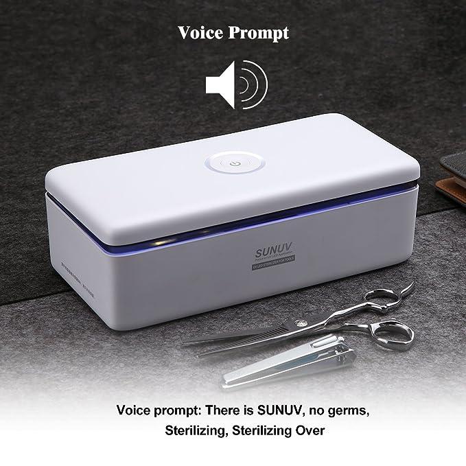 SUNUV Esterilizador de UV, para utensilios de maquillaje como cortaúñas, lima, cepillo, cuchilla, herramientas para bebés rápido y libre de gérmenes 180s ...