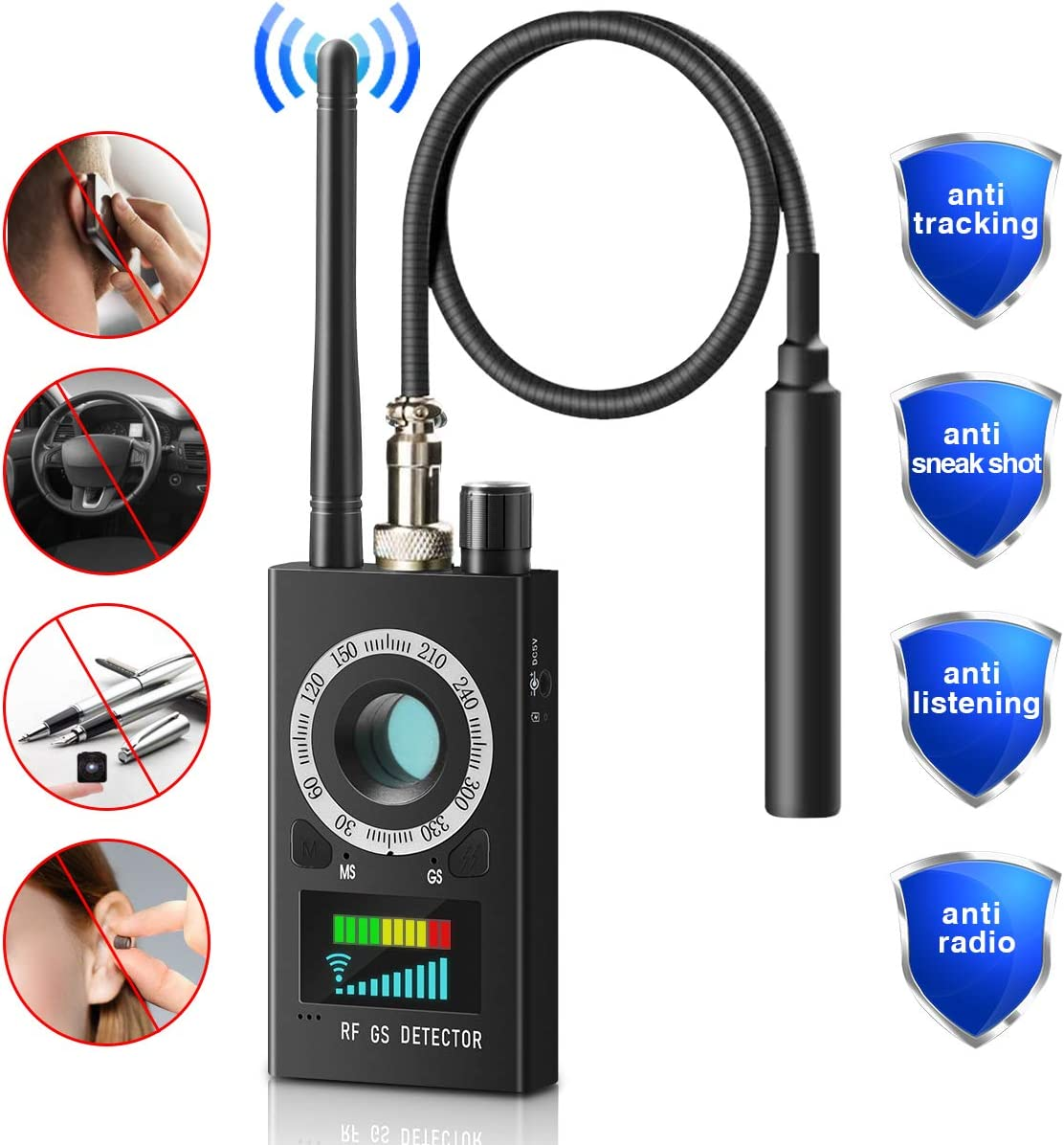 Anti Spy Detector, Smart Safety Device with Wi-Fi Detector, Hidden Camera Detector, Spy RF Detector, Wireless Bug Detector, Amplification Signal Detector and Anti-spy GPS Detector