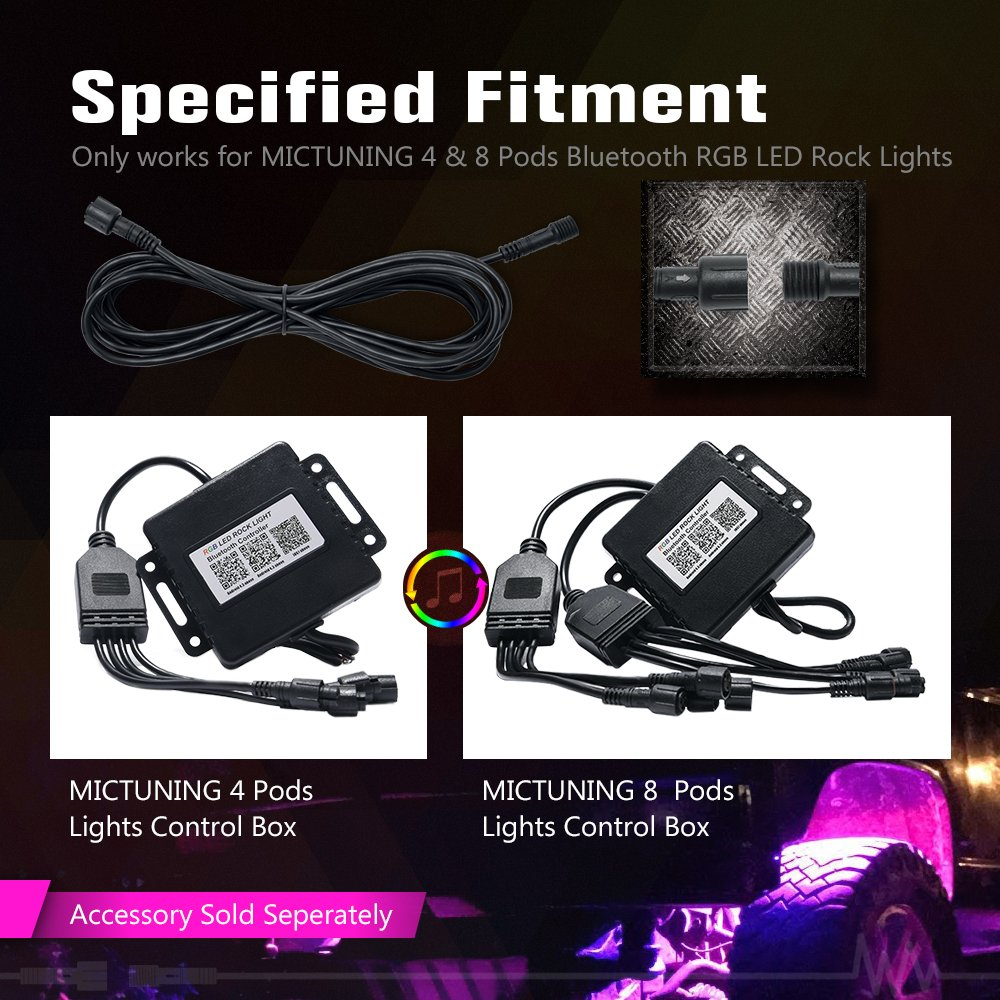 Xprite 10 FT Extension Cable Cord Wire for 4 /& 6 /& 8 Pods RGB Multicolor LED Rock Lights Kits