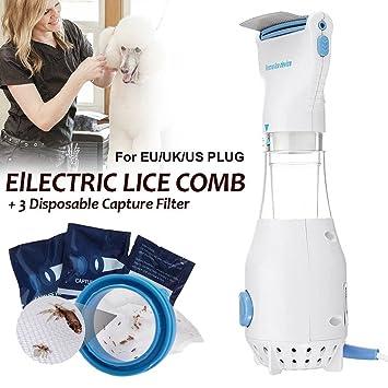 Art City Peine de piojos eléctrico, 110V Peine de pulga electrónico Cachorros de pulgas Tratamiento Mascotas seguras Matar para Perros Gatos + 3 filtros: ...