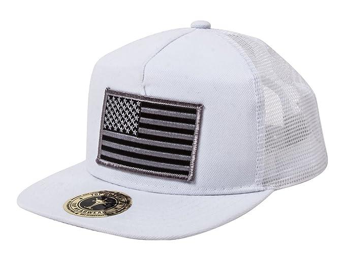 TOP HEADWEAR USA Flag Flat Bill Trucker Mesh Snapback Hat