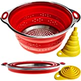 Combo of Collapsible Colander + Folding Funnel - Each Folds to 1 Inch. Volume 3 qarts or 2 qt (Semi-Collapsed). Silicone…