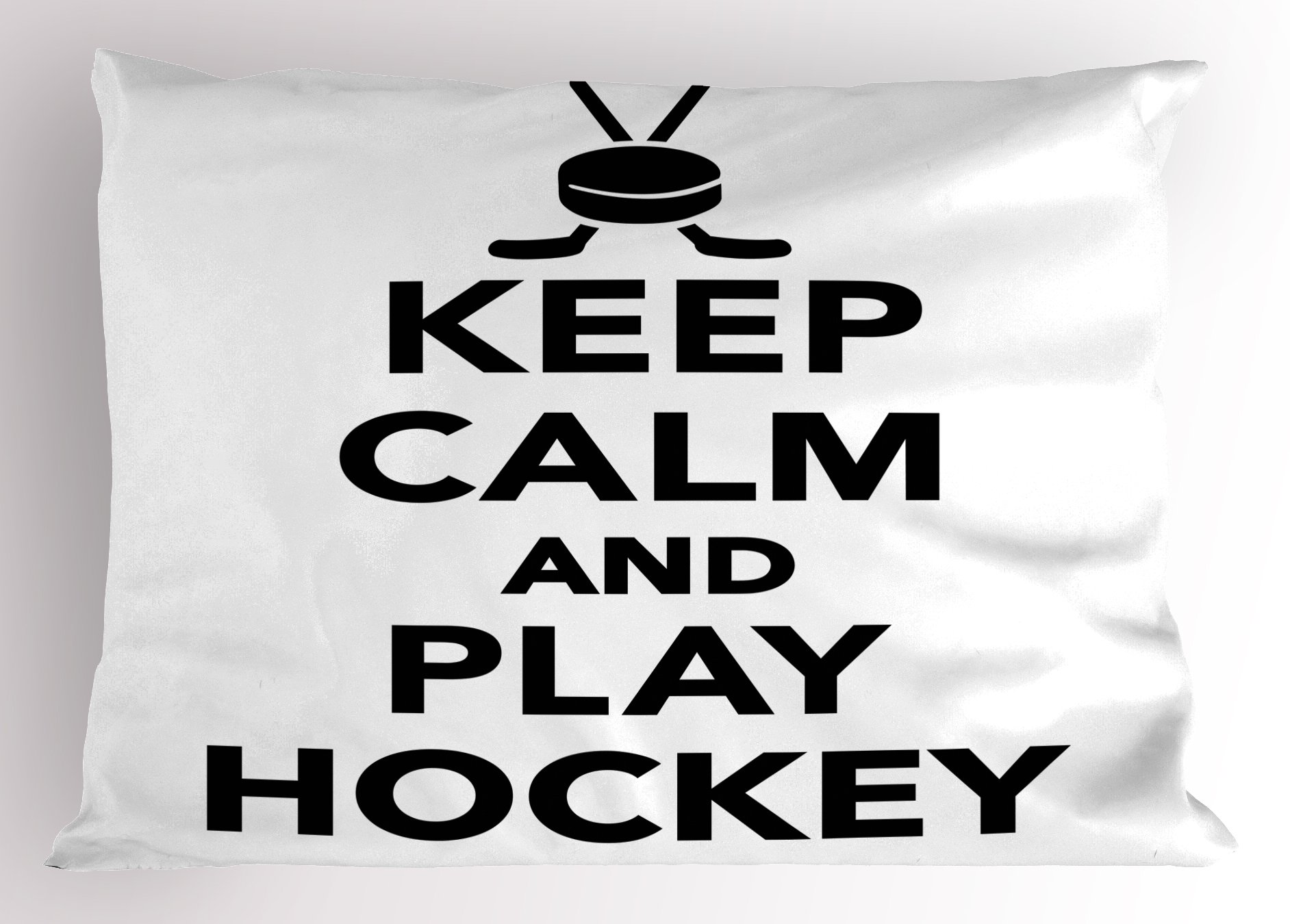 Ambesonne Hockey Pillow Sham, Keep Calm and Play Hockey Quote with Sticks in Black and White Competition Sports, Decorative Standard Queen Size Printed Pillowcase, Multi 1, 30'' W By 20'' L