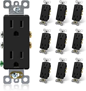 ELEGRP DecoratorReceptacle, 15A 125V Standard Electrical Wall Outlet, 2 Pole 3 Wire, NEMA 5-15R, Self-Grounding Residential Grade Straight Blade Decorative Duplex Outlet, UL (Glossy Black, 10 Pack)