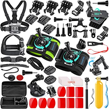 Floating Grip Waterproof Housing Case Silicone Sleeve Filters Head Chest Strap Bicycle Mount Suction Cup Mount Kupton Accessories Kit for GoPro Hero 8 Action Camera Accessory Bundle Set