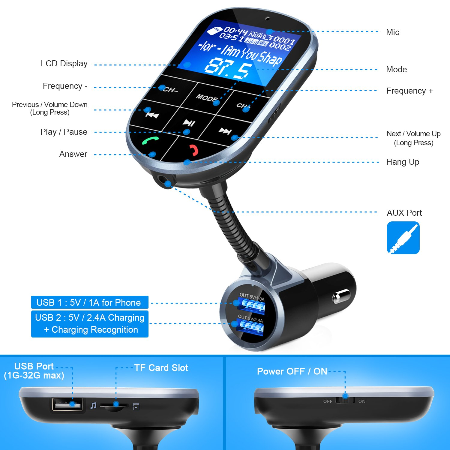 Bluetooth FM Transmitter For Car, Wireless Bluetooth FM Radio Adapter 2 Ports USB Car Charger 5V/2.4A&1A with Hands-Free Calling, Micro SD Card Aux Output by IMDEN (Image #3)