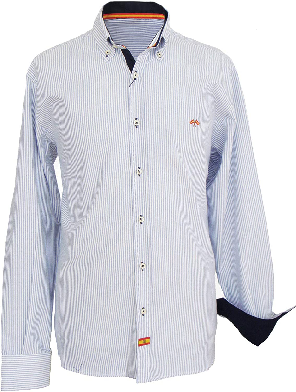 Pi2010 Camisa Bandera de España Hombre Rayas Marino: Amazon.es ...