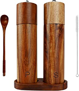 Wooden Salt and Pepper Grinder Set – Acacia Wood – Wooden Tray for Anchoring – Cleaning Brush & a Wooden Spoon - 8 by 2.12 IN – Dinner Table Accessories – Fresh Seasoning – Perfect Gift
