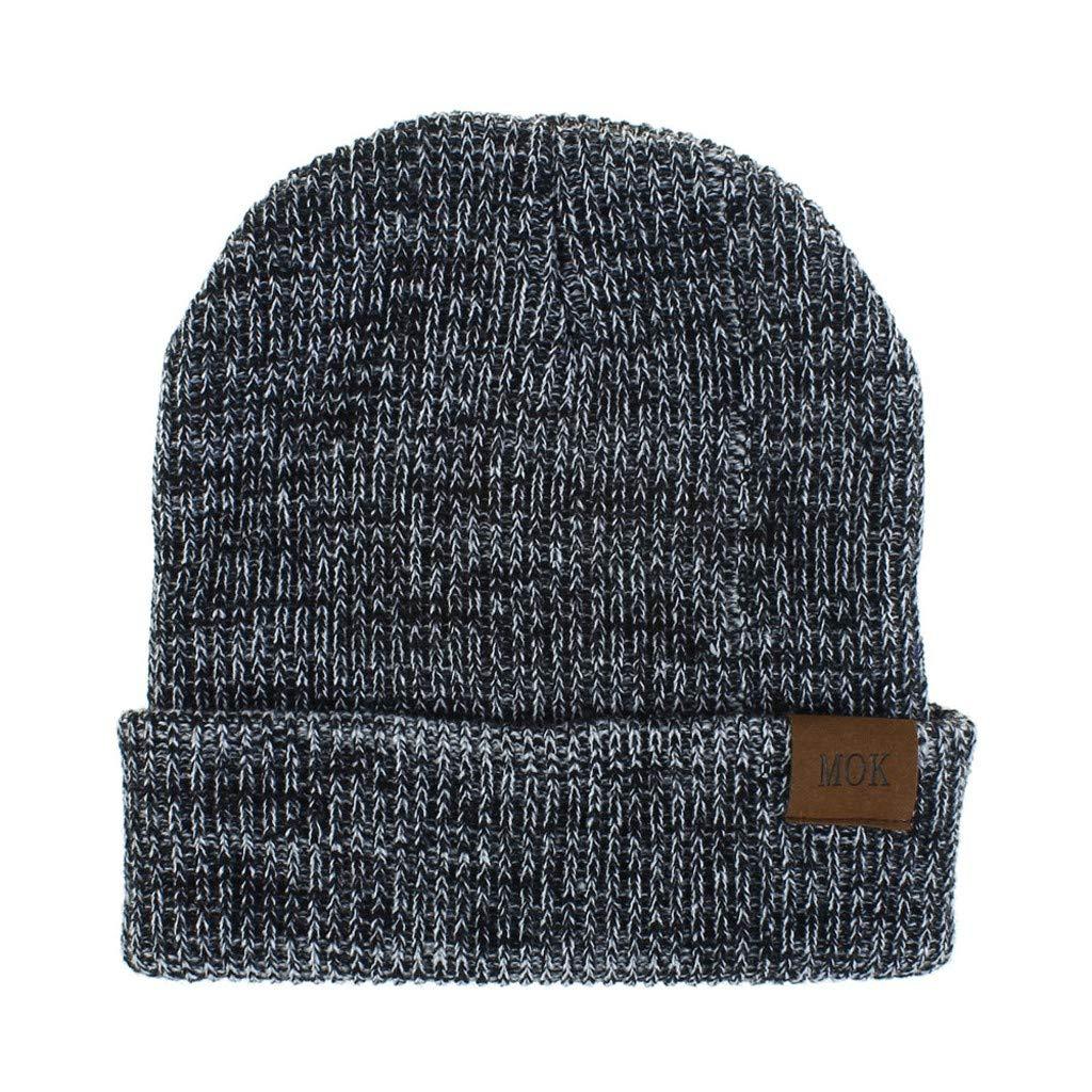 AmazingDays New Women Men Keep Warm Winter Casual Knitted Hat Wool Hemming Hat Ski Hat
