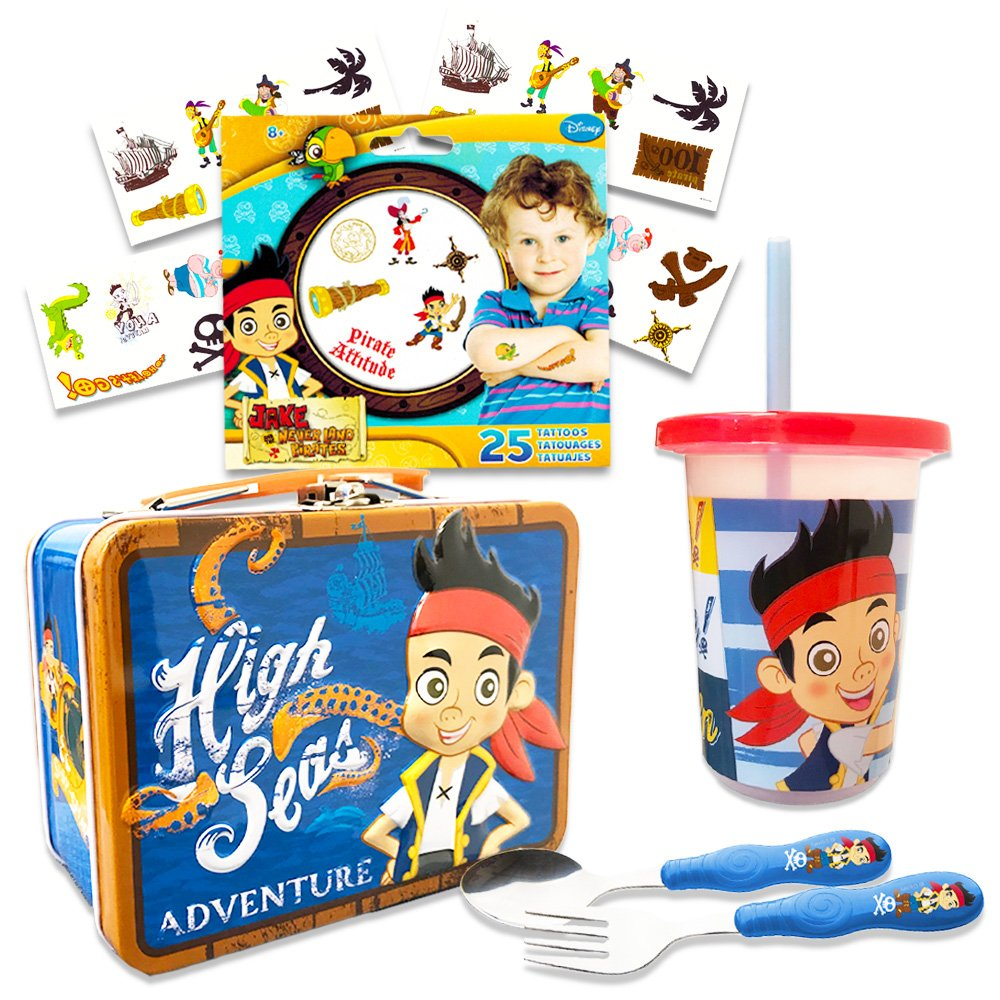 Jake and the Neverland Pirates Toddler Dinnerware Set - Flatware, Tumbler, Snack Tin, Temporary Tattoos (Disney Junior Dining Set)