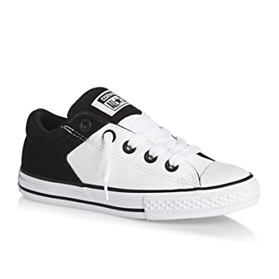 2362d57091d374 Converse Trainers - Converse Chuck Taylor All Star High Street Junior Slip  Shoes - White Black  Amazon.co.uk  Shoes   Bags