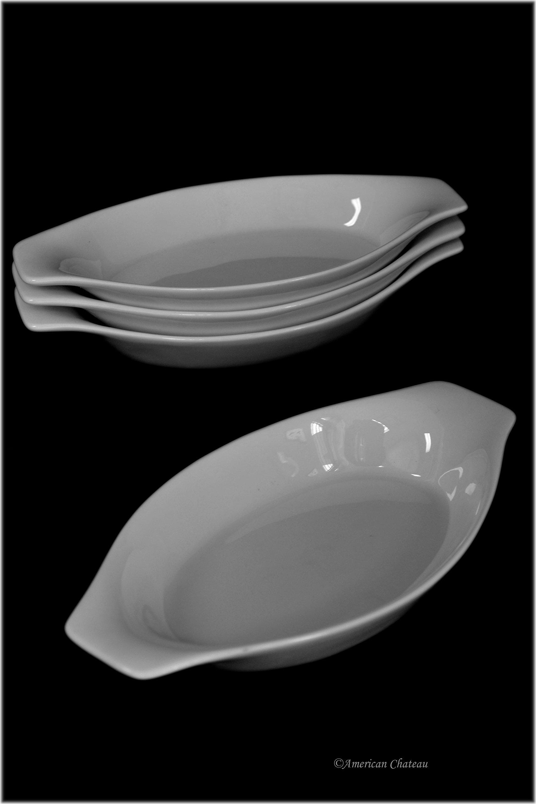 Set 4 Mini Oval Oven-Safe White Porcelain Appetizer Au Gratin Dishes with Handles