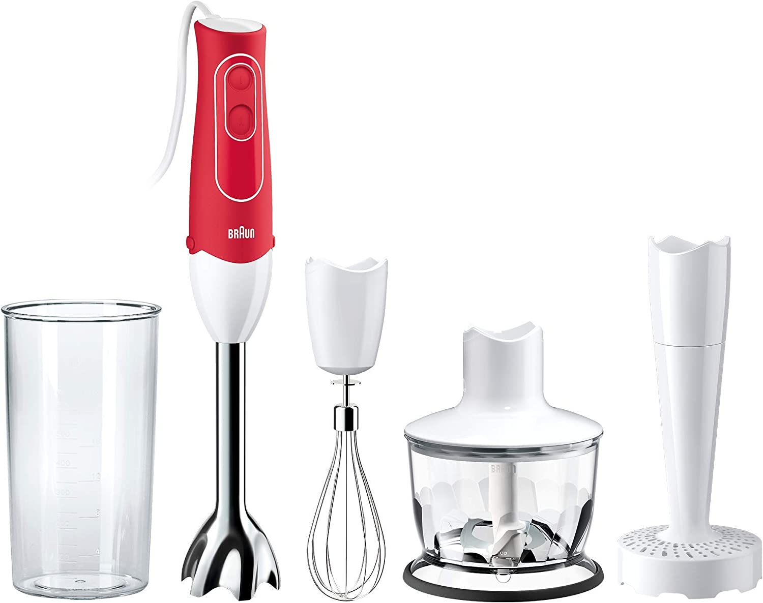Braun MQ537R MultiQuick 5 Immersion Hand Blender Patented Technology - Powerful 350 Watt - Dual Speed - Includes Beaker, Whisk, 2-Cup Chopper, Masher, 536, Red (Renewed)