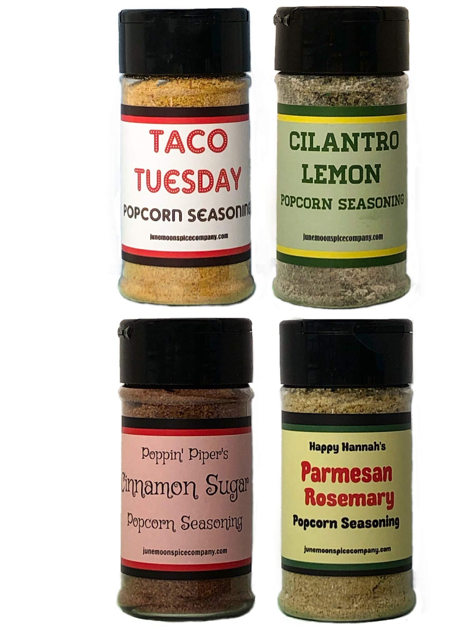 Premium | POPCORN SEASONING Variety 4 Pack | Burlap Hostess Bag Included | Cinnamon Sugar Popcorn Seasoning | Cilantro Lemon Popcorn Seasoning | Taco Tuesday | Rosemary Parmesan | 3.5 fl. oz.