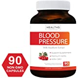 Best Blood Pressure Support Supplement (NON-GMO) - Premium Natural Herbs, Vitamins & Berries - High Dosage of Hawthorn Extract – Naturally Widen Blood Vessels – Berry Lower Pills – 90 Capsules