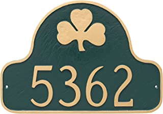 "product image for Montague Metal PCS-0082S1-W-BG Shamrock Arch Address Sign Plaque, 11"" x 16"", Black/Gold"