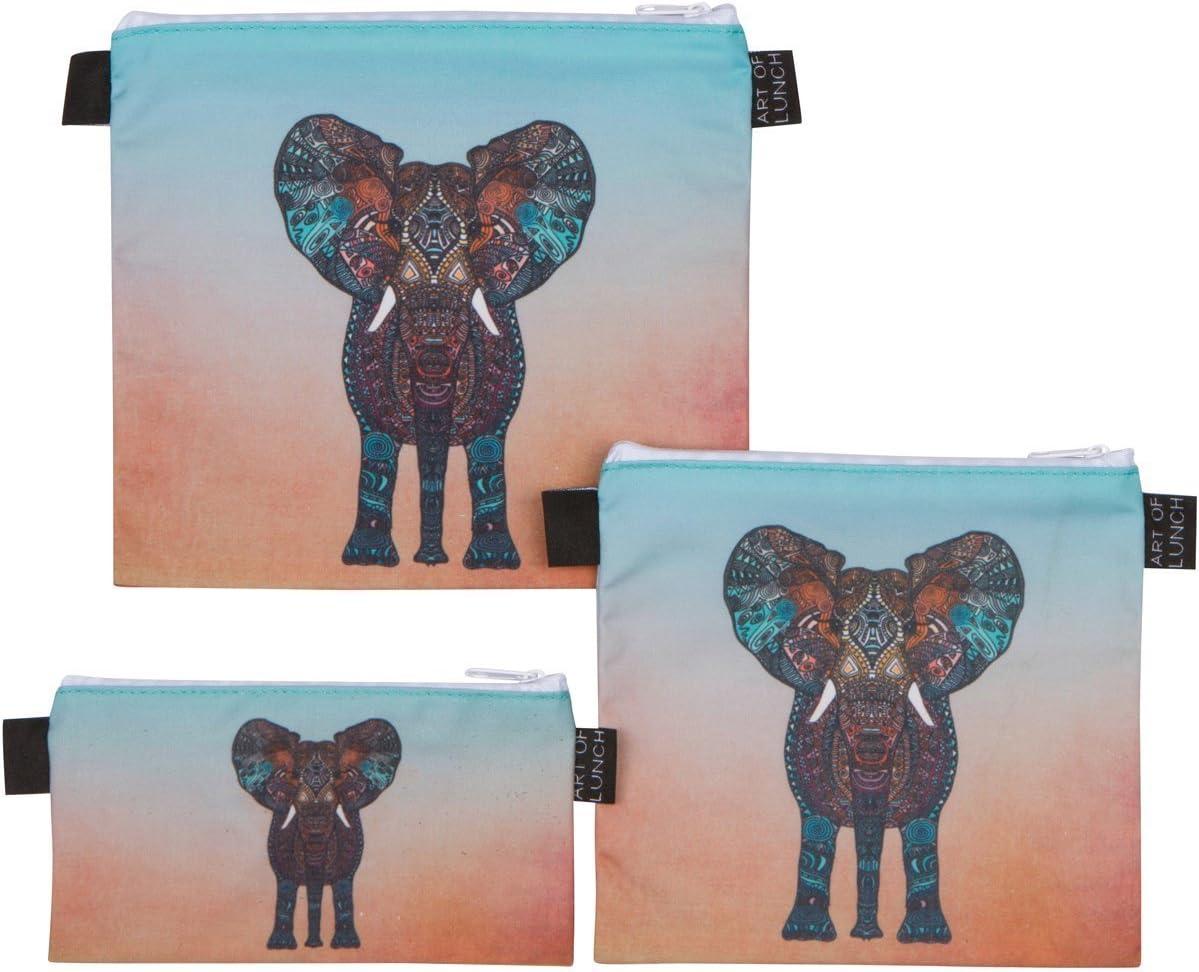 Art of Lunch by ARTOVIDA Designer Lunch Baggies for Men & Women, Boys & Girls, Fashionable, Reusable, Snack & Sandwich Bags w Zipper - Design by Monika Strigel (Germany) - Elephant
