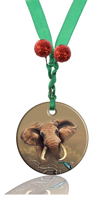GDEE Custom Animal Elephant Personalized Round Porcelain Ornaments Christmas Ornaments Home Decoration