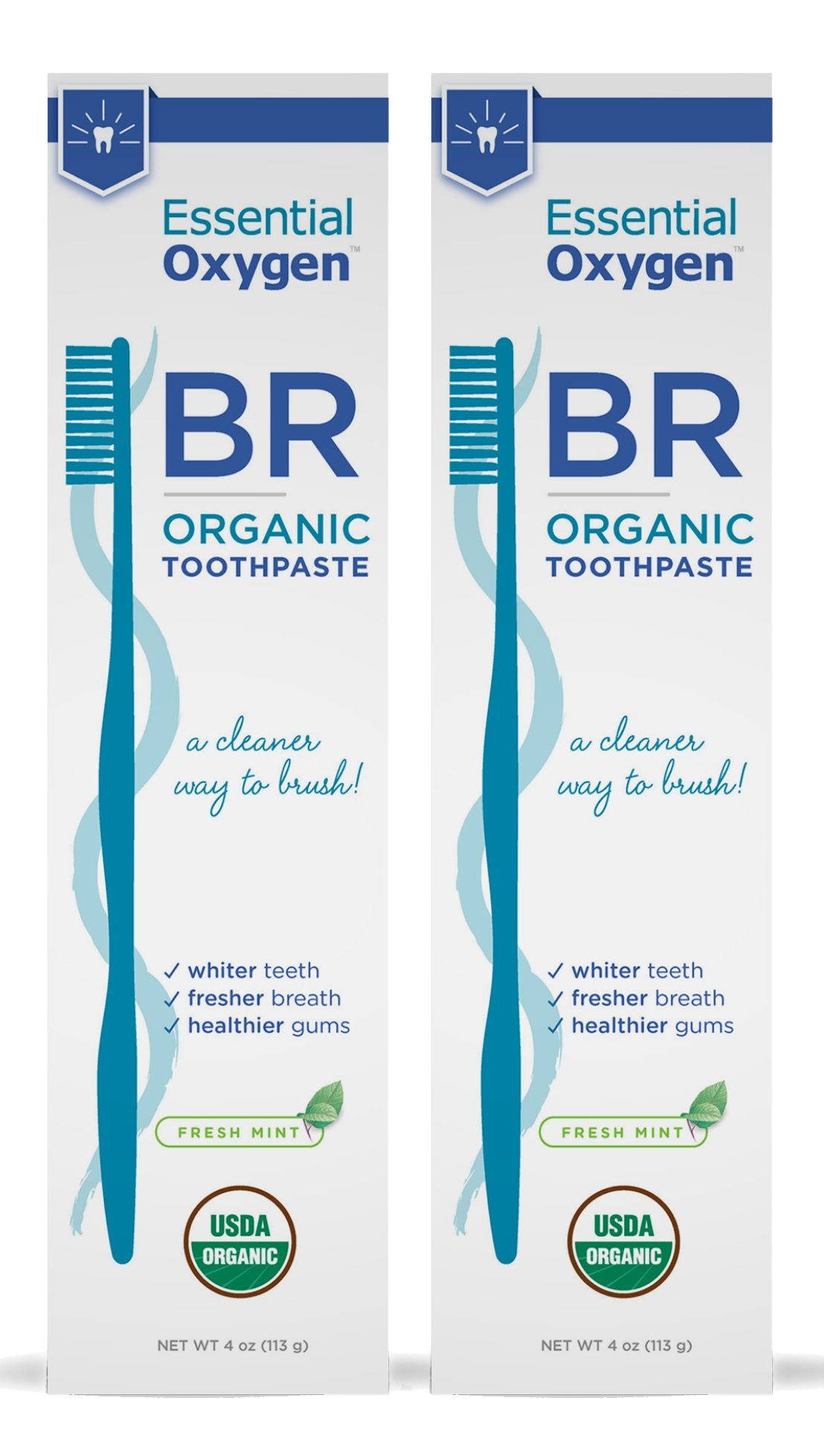 Essential Oxygen Organic Fresh Mint Toothpaste, 2 Count