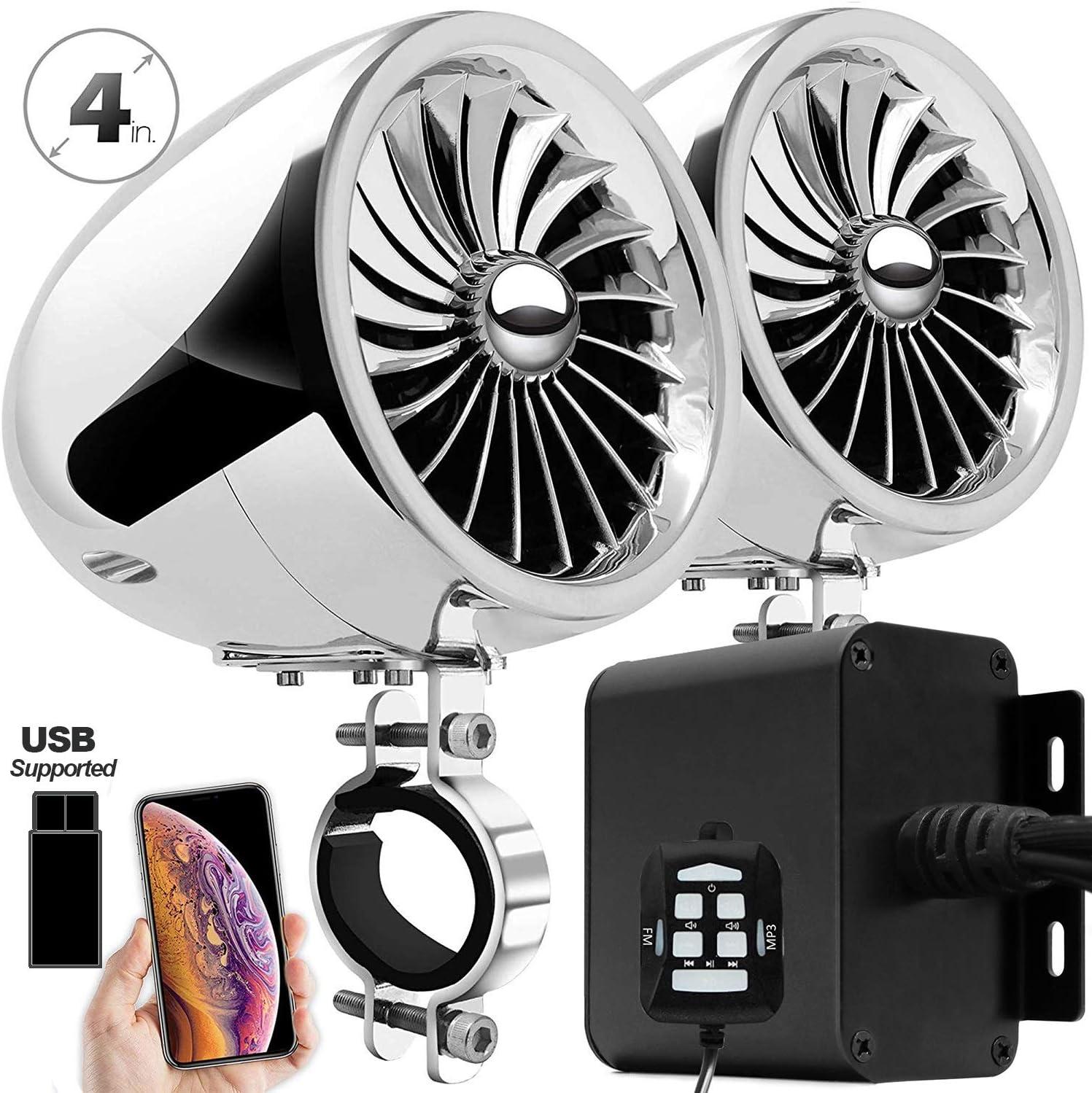 Aileap MX150 Sistema de Audio con Amplificador de Moto con AUX, USB, Radio FM, Altavoces estéreo Bluetooth Impermeables de 4 Pulgadas para Motocicletas ATV UTV (Cromo, Ventilador)