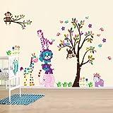 Walplus Sticker mural DF5099 Joyeux animaux, multicolore