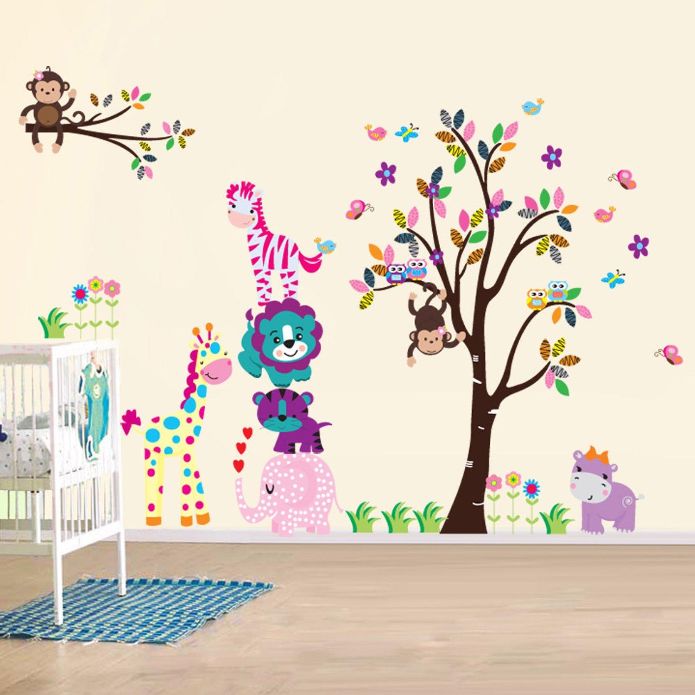AuBergewohnlich AY Wand Sticker Aufkleber Papier Kunst Dekoration Fröhliche Tiere Baum Kinderzimmer  Deko