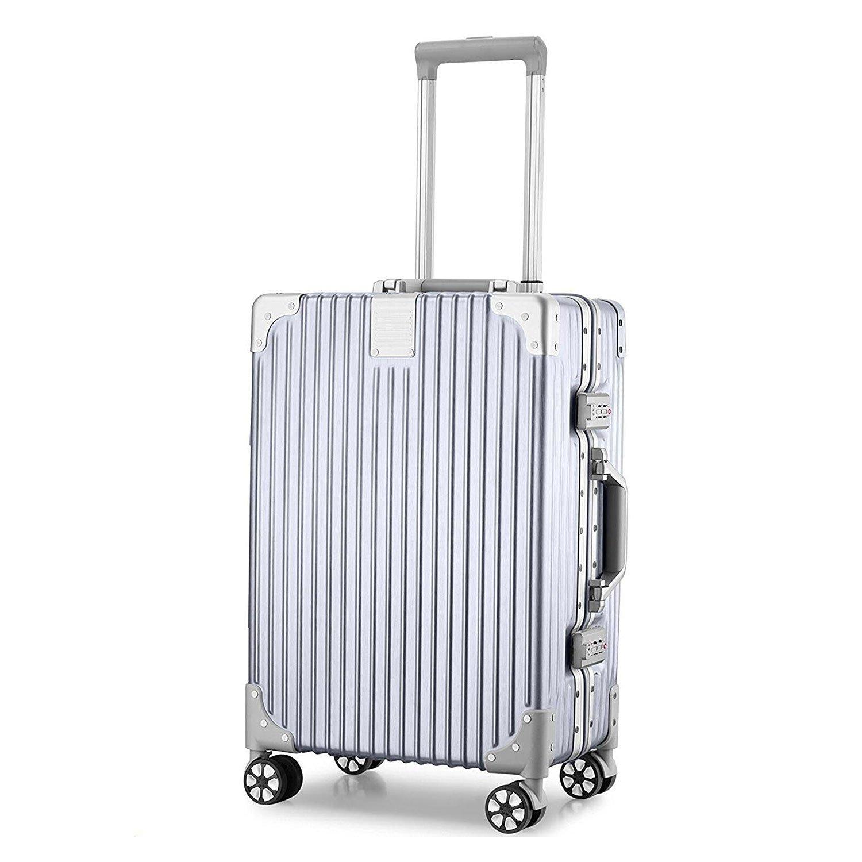 (アザブロ) AZBRO スーツケース キャリーケース TSAロック 半鏡面 アルミフレーム レトロ 旅行 出張 静音 超軽量 B077XBK5NB S|シルバー シルバー S