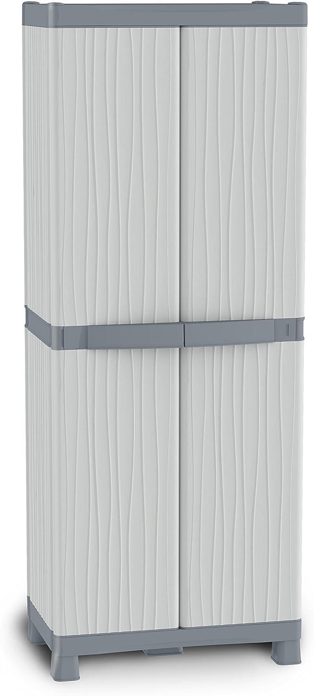Terry Wave Base 3700 Armario 2 Puertas con Divisor Vertical, 4 baldas, 4 cubetas y 2 Perchas. Capacidad máxima del Estante: 15 kg distribuidos de Forma Uniforme, Gris, 70x43,8x181,8 cm