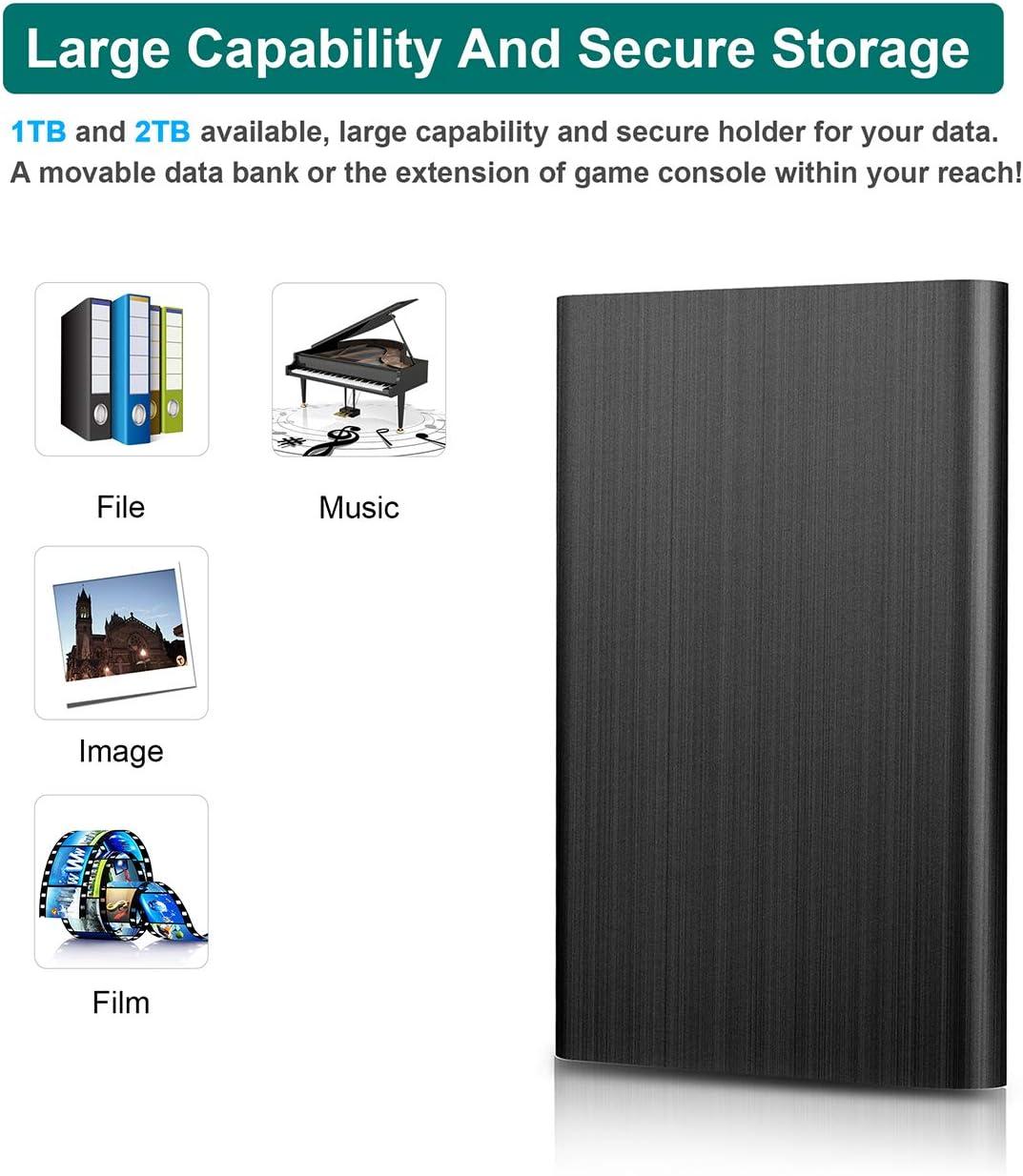 MacBook 1To,Bleu Xbox 360 Laptop Desktop ps4 Disque Dur Externe 1to,Disque Dur Externe USB3.0 pour PC Mac Chromebook Xbox One