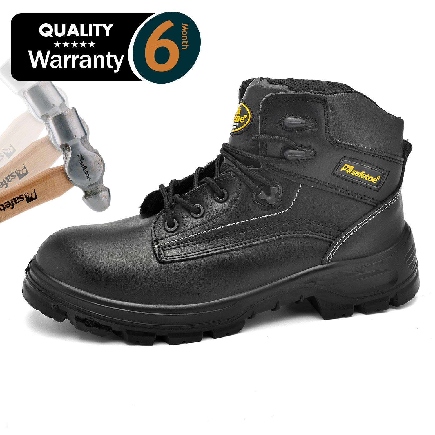 SAFETOE Mens Safety Boots Work Shoes - M8356B Black Waterproof Leather Work Boots Steel Toe Safety Shoes by SAFETOE