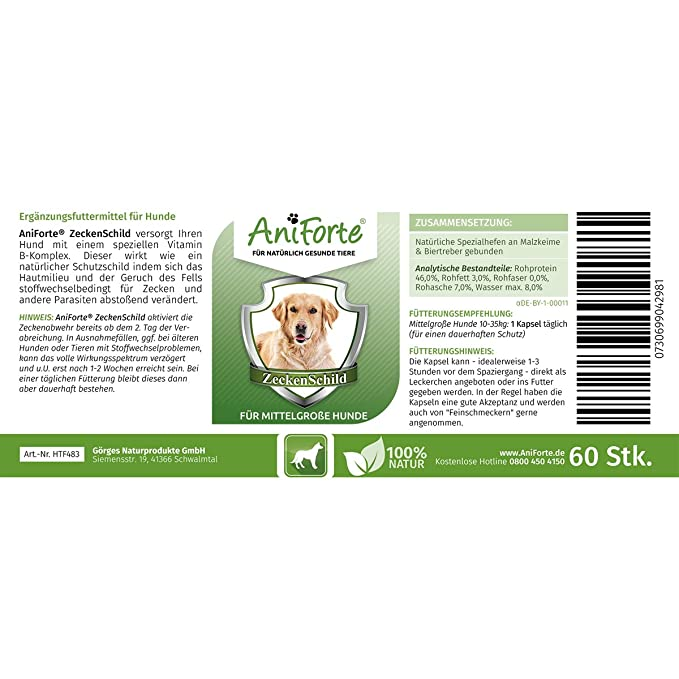 Pastillas AntiGarrapatas para Perros Medianos (10-35 kg) - 60 cápsulas | Producto 100% Natural | Complejo de Vitamina B que Actúa como Escudo Anti ...