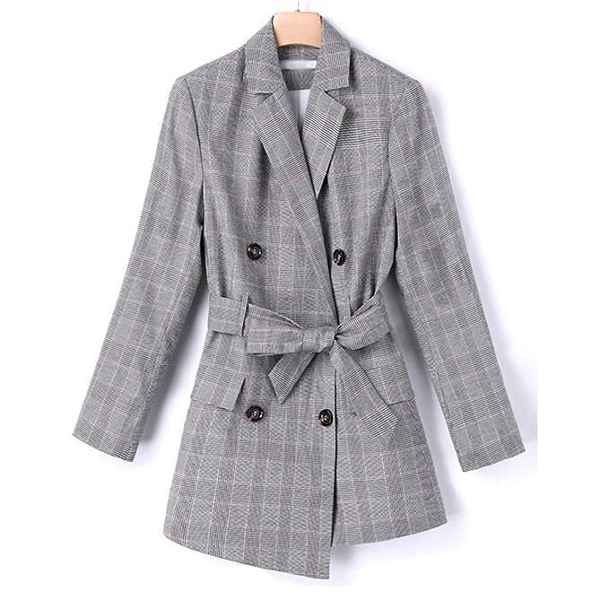 09022343cdf Women Spring Autumn Plaid Blazer Jacket Female Suit Casual Streetwear  Office Outwear Xs