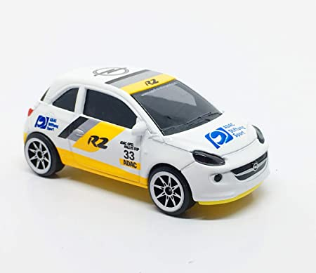 Fonza Opel Adam White - Yellow Base - Racing R2 ADAC no.33 - 1/64 Scale Diecast Car - Scale 1:55 / 3 inches Car - MJ Ref 202A - Wheels 8S White - New Car no Package