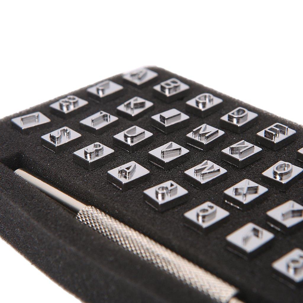 6 mm LANDUM Herramientas artesanales de Cuero Conjunto de Punzones de Sello de n/úmero de Alfabeto de Acero de 36 Piezas para Arte de Cuero Sellos Herramientas Arte